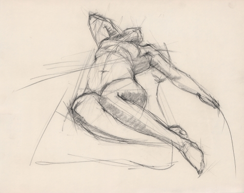 Foreshortened-laying-female-charcoal